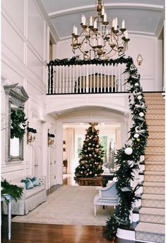 Christmas is coming, how is your home decorated? What I want to remind you is: Don't forget the Christmas staircase decoration. We have provided you with 30 best Christmas staircase decoration ideas, please enjoy! Christmas Stairs Decorations, Christmas Staircase, Christmas Home, Xmas, Christmas Christmas, Christmas Entryway, Outdoor Decorations, Modern Christmas, Beautiful Christmas