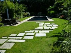 Stone path in the lawn
