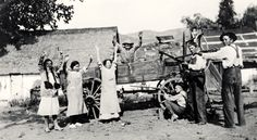 Samuel John Cooper family at play in Calabasas, 1915. From left to right: Rosie (daughter), Dollie Farnum (cousin), Rose (mother), unknown in wagon, Stanley Masson (cousin), Sam Cooper (father), Sam Marx Cooper (son). Calabasas Historical Society. San Fernando Valley History Digital Library.