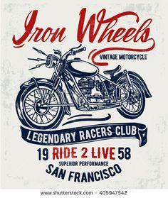 Motorcycle typography, t-shirt graphics, vectors. - stock vector