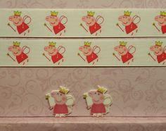 "2 Yds 1"" Peppa Pig Inspired Grosgrain Ribbon and 2 Resin #Unbranded"