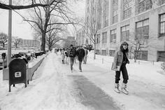 On April 9, 1982, BU photographers were capturing snow scenes on Commonwealth Ave., three days after a late-season storm.