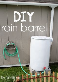 How to make your own rain barrel watering system-- easy and inexpensive!  Use our Hawkeye container!