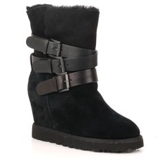 Ash Yes Black fleece lined wedge ankle buckle boot