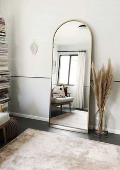 4 Great Ways to Make Small Bedroom Design Organized and Look Spacious - There are always smart ways to transform your small bedroom design into a bigger and tidier room, so you don't have to see your stuff scattered everywhere. Design Living Room, Living Room Decor, Living Room With Mirror, Full Length Mirror Living Room, Cheap Full Length Mirror, Home Bedroom, Bedroom Decor, Nursery Decor, Bedroom Ideas