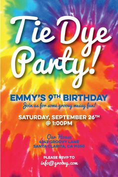 tie dye invite tie dye invitation tie dye party invitation tie dye party invite tie dye birthday invitation personalized digital