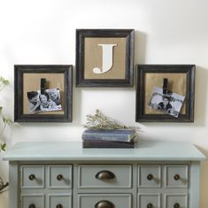This set of Burlap Monogram Collage Frames brings a shabby chic feel to your home! This piece features your initial plus large clothespins to display your favorite pictures. Now through 11/1, this set is only $19.98!