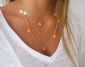 Delicate Gold Layered Necklace Set ; Infinity, Turquoise Beads and Coin Charms ; Pick Your Beads Color