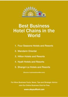 The needs of business travellers are different from tourists. Here are the best hotel chains for business. www.stayoutfront.com