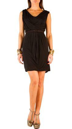 Belted Drape Dress - Black