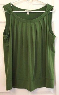 Dressbarn Sleeveless Tank Size XL Dressy Green Pleated Bodice Loose Banded Waist #dressbarn #TankCami #Careercasualdressy