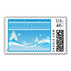 """Winter Season Postage. Unique, trendy, chic and stylish Christmas greetings mail postage. With cute and fun image of pretty white Christmas trees on light pastel blue background, and """"Holiday Greetings"""" text. Original, elegant and classy stamps to personalize your seasonal December wishes with."""