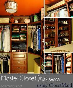 Image detail for -Master Closet Makeover using ClosetMaid Closet Redo, Closet Hacks, Closet Remodel, Master Bedroom Closet, Closet Ideas, Bedroom Closets, Master Bathroom, Bedrooms, Small Closet Organization
