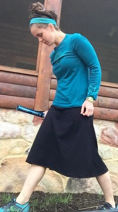 Revamped Straight-A Skirt modest running skirt by Modest Outfits, Skirt Outfits, Modest Fashion, Casual Outfits, Modest Wear, Apostolic Fashion, Modest Workout Clothes, Exercise Clothes, Workout Clothing