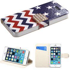 Book-Style Diamante Belt Wallet iPhone 5/5S/SE Case - Stars-wave