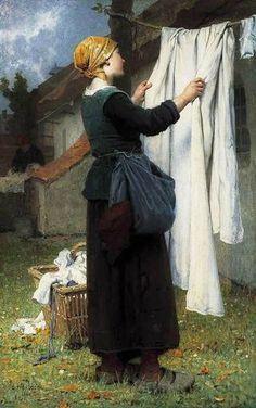 """""""Painting of laundress"""" by Désiré François Laugée"""