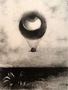 "Odilon Redon (1840-1916) A Edgar Poe - Planche 1 ""L'oeil comme un ballon bizarre se dirige vers l'infini"" - 1882 - Lithographie"