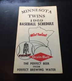 Vintage 1969 Grain Belt Minnesota Twins Schedule Seating Chart for the Met