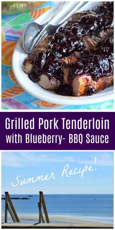Grilled Pork Tenderloin with Blueberry Barbecue Sauce recipe from RecipeGirl.com #grilling #pork #blueberry #recipe #RecipeGirl