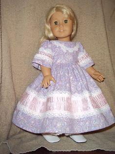 1850 southern belle  style dress made for American Girl dolls lavender caroline marie grace historical