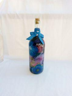 Recycled Wine Bottled Bouquet, silk flowers, decorative glass, decorative glass bottle, home decor, kitchen decor, bathroom decor, bouquet,