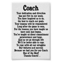 Shop Coach Thank You Poster created by nikiclix. Football Coach Quotes, Thank You Poster, Coach Carter, Corner Designs, Custom Posters, Custom Framing, Favorite Quotes, Coloring Books, Reflection