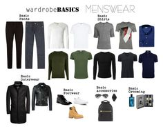 """""""Wardrobe Basics: Menswear"""" by sophie-poualion ❤ liked on Polyvore featuring A.P.C., Uniqlo, River Island, Orlebar Brown, Doublju, BOSS Hugo Boss, Superdry, Yves Saint Laurent, Giorgio Brutini and Converse"""