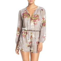 Women's Fraiche By J 'Julia' Floral Print Tie Neck Romper ($121) ❤ liked on Polyvore featuring jumpsuits, rompers, julia gray, neck ties, playsuit romper, long sleeve romper, tie-dye rompers and tie neck tie