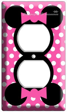 MINNIE MOUSE PINK POLKA DOTS POWER OUTLET WALL PLATE COVER GIRLS BEDROOM DECOR