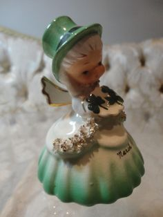 """Vintage Napco """"March"""" Angel Irish St. Patrick's Day Bell of the Month Figurine"""