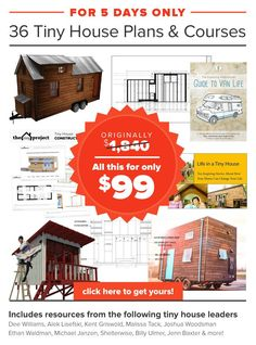 5 Days Only! 36 #tinyhouse Plans and Guides for 94% off!