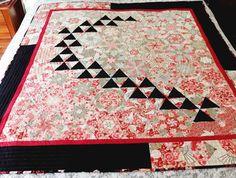 Art quilt één blok wonder cherry blossoms en fans door StephsQuilts