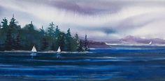 Pacific Northwest Islands // Northwest Sails // Watercolor // Sailboat