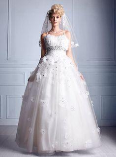 Ball Gown Organza Natural Floor Length Sleeveless Bridal Gowns     modelgelin.com
