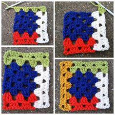 log cabin, log cabin, gehaakte log cabins, haken logcabins, log cabins in granny . Crochet Afghans, Gilet Crochet, Ravelry Crochet, Crochet Motifs, Crochet Quilt, Crochet Blocks, Crochet Blanket Patterns, Crochet Stitches, Granny Square Crochet Pattern