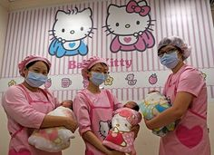 Hello Kitty Hospital. This Hello Kitty themed maternity and pediatric hospital is located in Yuanlin, Taiwan, and is authorized by Sanrio