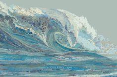 Matthew Cusick. Mylan's Wave, 2012. Inlaid maps, acrylic on panel.