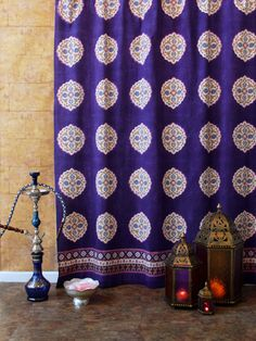 Love this website, very indian, moroccan, bohemian inspired. Purple Blue Moroccan Medallion Curtain