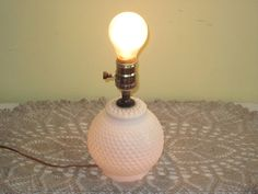 Vintage Milk Glass Hobnail Light Table Lamp by whitefarmhouse