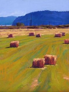 Summer Fields by Susan Ogilvie Pastel and Gold Leaf ~ 16 x 12
