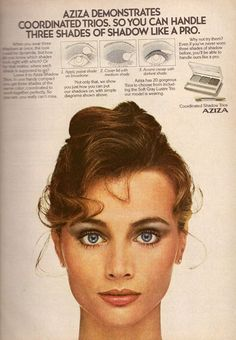 1981 AZIZA Cosmetics Makeup Magazine PRINT ADVERTISEMENT AD VINTAGE VTG 80s #Aziza