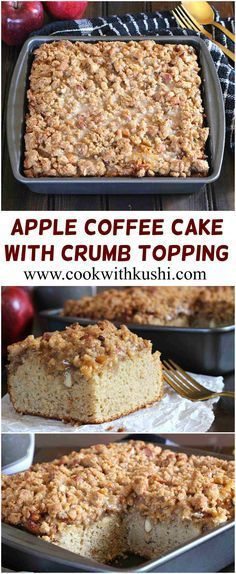 Apple Coffee Cake With Crumb Topping: The cake is light, soft and moist on the inside, and is topped with perfectly caramelized apples and buttery-nutty-crunchy crumb topping. To take it to the next level and to make it scream Fall, I have drizzled the cr