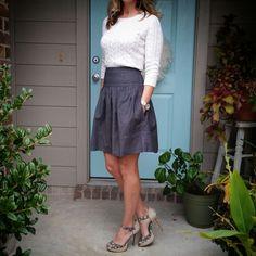 BCBG skirt, cream sweater