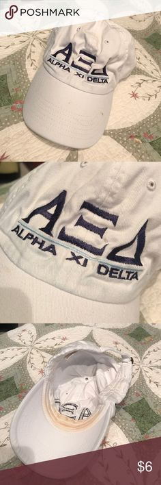 White Alpha Xi Delta baseball cap AXiD. White Alpha Xi Delta letter baseball cap. It is in good condition- but the photos do show some makeup stains. Accessories Hats