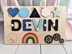 Personalized Busy Board Name puzzle with pegs Learning Board | Etsy Easter Gifts For Kids, Gifts For Boys, Diy For Kids, Jigsaw Puzzles For Kids, Wooden Puzzles, Kids Board, Busy Board, Custom Baby Gifts, Personalized Baby
