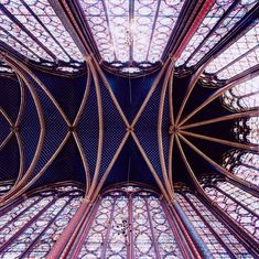Choir, Sainte-Chappelle in  Paris. - #photography of medieval church vaults from  David Stephenson's Heavenly Vaults book http://www.amazon.com/gp/product/1568988400/ref=as_li_tf_tl?ie=UTF8=liberalsprink-20=as2=1789=9325=1568988400 #architecture #ceilings http://www.davidstephensonart.com/