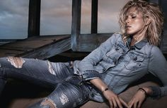 Replay enlists Iselin Steiro to pose as the stunning face of their Spring Summer 2014 campaign joined by Alex Libby for a shoot by photographer David Sims. David Sims, Alex Libby, Replay Jeans, Beach Poses, Louis Vuitton, Denim Outfit, Denim Shirt, Denim Jeans, Advertising Campaign