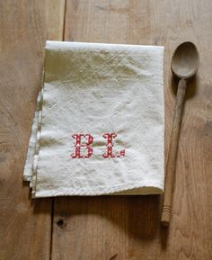 NEW! Vintage Inspired Kitchen Towel with Personalized Initials