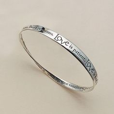 Buy Love is Patient Silver Bangle from Museum Selection