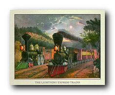 Give a new dimension to your home decor by simply adding this wonderful lightning express train picture art print poster. This wonderful poster captures the image of lightning express train which will make this wall art a focal point of your home. Your guests will definitely compliment you for your excellent taste. Adorn your home walls with this wonderful fine art poster. Hurry up and grab this wonderful wall poster for its durable quality and high degree of color accuracy.